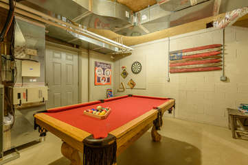 Pool Table in basement game room
