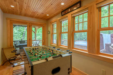 Gameroom with Foosball Table opens onto back deck
