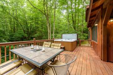 Back Deck with Hot Tub, Outdoor Dining