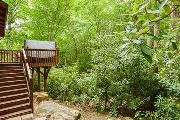 Steps from back deck lead down to creek