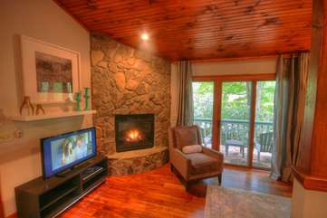 Living Room with HDTV and Stone Gas Log Fireplace