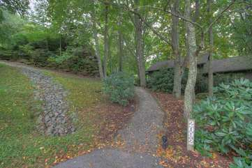 Walkway from Parking Area to Cottage,  Surrounded by Mature Trees
