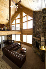 View of living room & loft