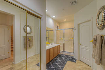 Master bath on first floor is spacious and includes generous closet space