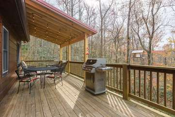 Back Deck with ample seating, grill