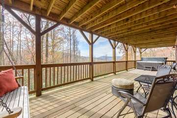 Lower Level Deck with Porch Swing, Hot Tub
