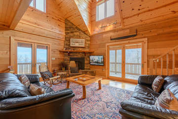 Great Room on Main Level with Leather Sofas, HDTV, Stone Gas Fireplace