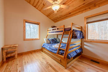 Upstairs Bunk Room with Twin over Full Bunk Bed