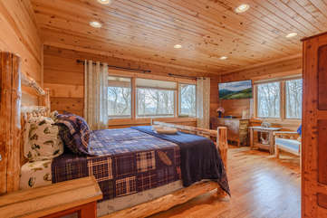 King Master Suite on Main Floor with HDTV. Lots of Windows and Natural Light!