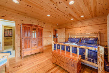 Master Suite on Main Floor with Huge King Log Bed and Ensuite Full Bathroom