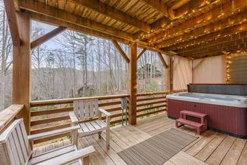 Lower Deck with Hot Tub and Seasonal Mountain Views