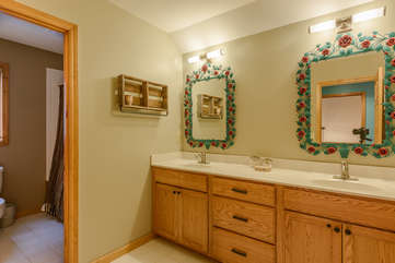 Upstairs Master Bathroom with Double Vanity and Jetted Tub