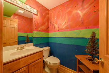 Half Bath-Powder Room on Main Floor, Hand-Painted by Area Artist