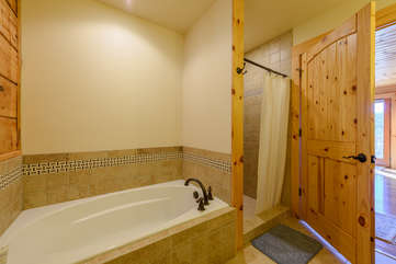 Soaking Tub and Shower in Master Bathroom