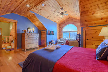 Upstairs first Queen Bedroom with Vaulted T&G Ceilings and Views
