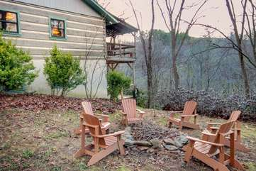 Outdoor Wood-Burning Fire Pit on side yard at Riverdale