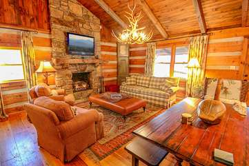 Living Room with Comfy Cabin Furniture
