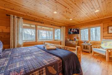 King Master Suite with Huge Windows looking out at Mountain Views
