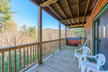 Covered Deck where Hot Tub is Located