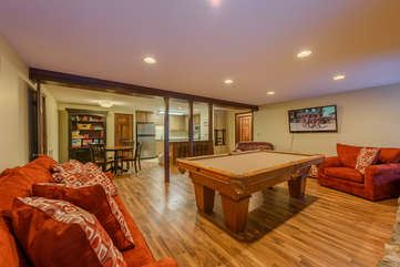 Downstairs Den with Pool Table and Flatscreen TV