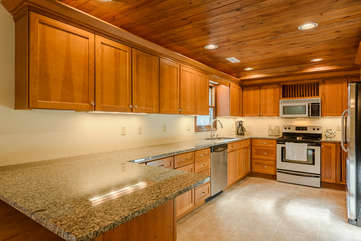 Banner Elk Lodge Kitchen with Stainless Steel Appliances and Granite Countertops