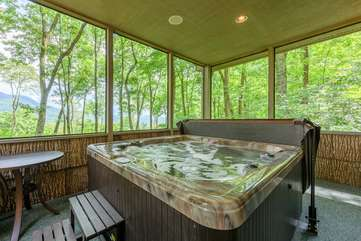 Hot Tub in screen porch