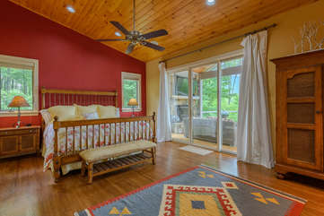 Master Bedroom with access to back deck, views of Grandfather Mountain, TV