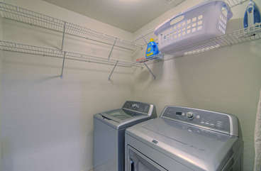 Separate laundry room is stocked so you can keep your wardrobe ready for the next adventure