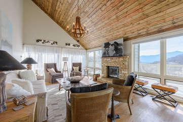 Great Room on Main Level with Wall of Windows framing Incredible Mountain Views