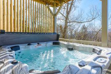 Hot Tub tucked into Quiet Corner on Lower Deck