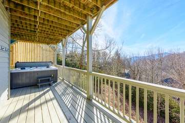 Lower Rear Deck with Hot Tub and Mountain Views