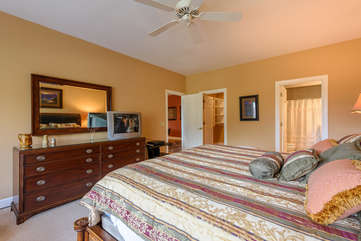 Downstairs Bedroom with King Bed, TV, Private Bathroom, Large Walk-In Closet