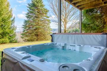 Large Hot Tub located on Lower Level Patio