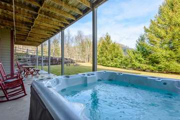 Hot Tub Located on Lower Porch