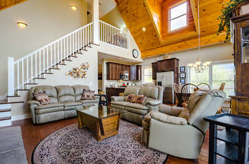 Great Room with Leather Furniture