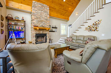 Great Room with Wood Burning Fireplace and HDTV
