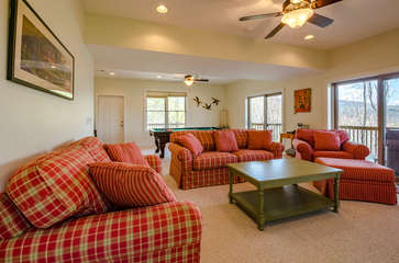 Downstairs Family Room with Comfy Furniture