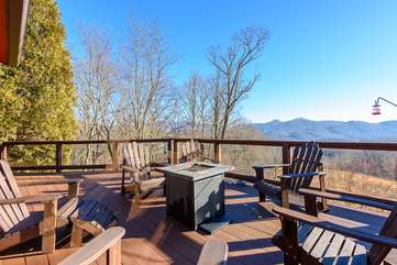 Deck with Fire Table and Adirondack Chairs overlooking Long Range Views