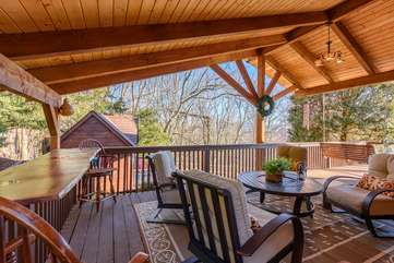 Vaulted Ceilings, Live-Edge Wood Dining Counter in Outdoor Living Area
