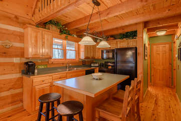 Center Kitchen Island with Dining for 4 Guests