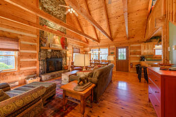 Great Room with Vaulted Ceilings and Exposed Beams, Hardwood Floors
