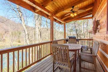 Rear Deck on Main Level with outdoor Dining and Gas Grill