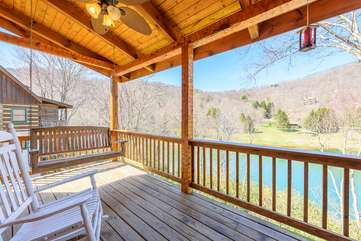 Lake and Mountain Views from Porch Swing on Rear Deck!