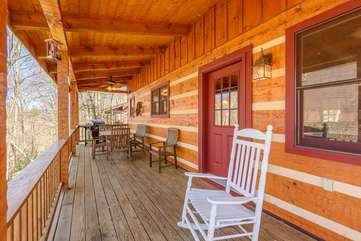 Enjoy Lake and Mountain Breezes while Rocking or Dining Outside on the Deck