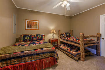 Downstairs Bedroom with Queen Bed, Twin Log Bed and Twin Trundle