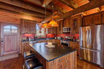 Majestic View kitchen with island  seating, stainless steel appliances
