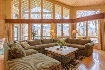 Great Room with Wall of Windows Framing Mountain Views!