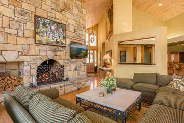 Stone Fireplace and HD Smart TV in Great Room