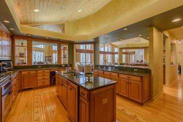 Huge Kitchen with Granite Counters, Custom Cabinets, Center Island with Sink
