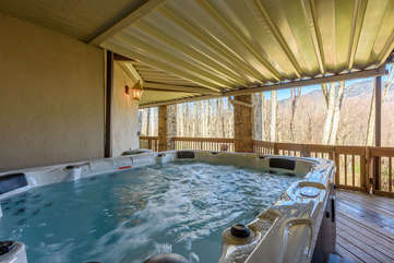 Eight-person Hot Tub tucked away on Lower Rear Deck